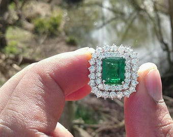 5ct Deep rich green emerald ring