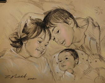 "custom pencil sketch12""x16"",three persons,portrait from photo,pencil portrait,pencil sketch"