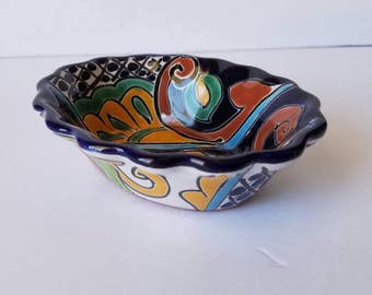 Talavera serving bowl, small serving bowl, Mexican pottery, Salsa bowl, Guacamole bowl
