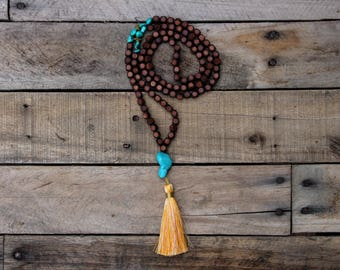 Square Wood and Turquoise Mala
