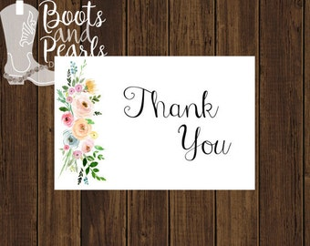 Floral Printable Thank You Card - Thank You Card - Instant Download Card - Printable Thank You - Wedding Printable - Wedding Thank You