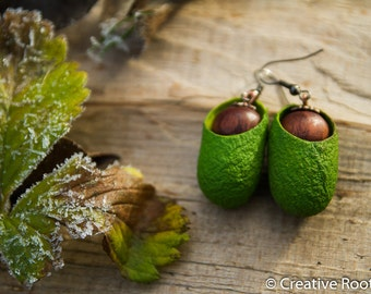 Silk Cocoons in Green Colors with Wooden Beads