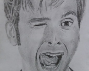 Original pencil portrait David Tennant Doctor Who the Tenth doctor pencil drawing on paper wall decor for fans