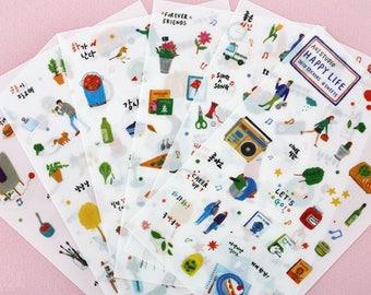 Happy Life Stickers,,Label Sticker, Stationery Sticker, Scrapbooking Sticker, Planner Stickers, Decorative Stickers, Life, Korea Stationery