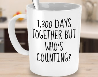 20th Wedding Anniversary Gifts  - 7300 Days Together But Who's Counting - Twentieth Anniversary Coffee Mugs