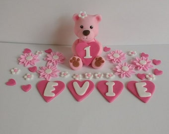 Teddy bear cake topper, flowers, name letters, edible