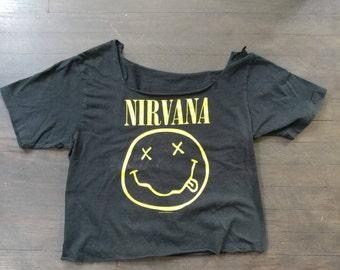 1992 Vintage Black Nirvana Women's Crop Top Band Tee