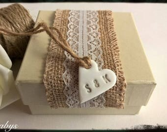 10 - 100 Personalised Clay Heart Gift Tags with Initials - Wedding Favour -  Bridesmaid Gift  - Wedding Decor - Anniversary - Birthday
