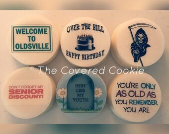 Over The Hill Birthday Chocolate Covered Cookies