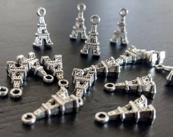 4 Eiffel Tower Charms | Silver Eiffel Tower | Paris Charms | France Charm | Silver Charm | Bulk Charms | Ready to Ship from USA | AS417-4