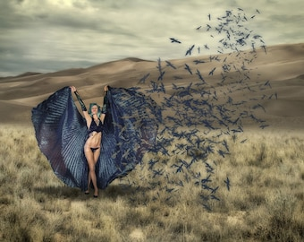 Metamorphosis in blue. Fine art conceptual photo of beautiful with blue cape turning into birds.