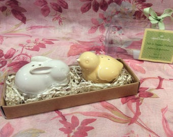 Hallmark bunny and chick salt and pepper shakers, adorable, collectible, vintage, Easter gift