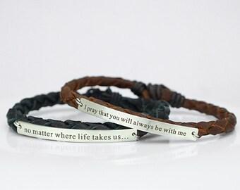 Long Distance Relationship Bracelets, BFF Bracelet, Couples Bracelet, Engraved Bracelet, No Matter Where, matching bracelets, his and her