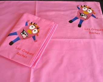 Pillowcase croques pink rocks for child