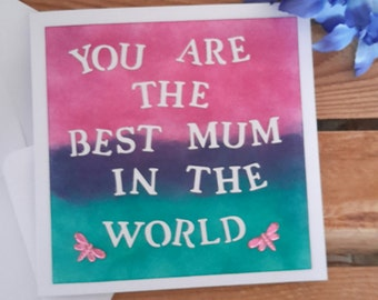 incredibly gorgeous and gracious handmade mothers day card on the lovely background, extremely cute gift, the best mum in the world item