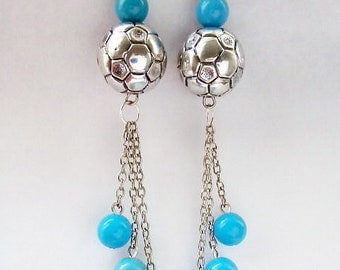 silver chain with silver ball bead and blue beads drop earrings