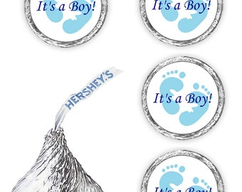 108  Its a boy blue footprints baby shower party kisses candy favors  (candy not included)