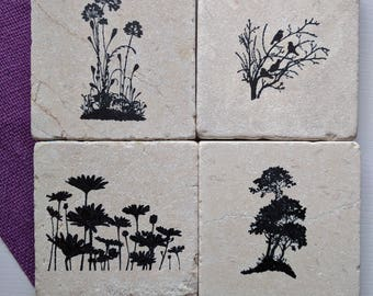 Nature Silhouettes II Coasters, set of 4,  Natural Tumbled Stone, Gardener, Flowers, Trees, Birds