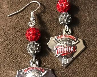 Minnesota Twins earrings with logo charms