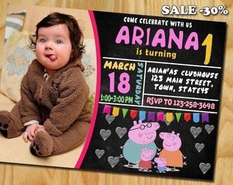 Peppa Pig, Peppa Pig Invitation, Peppa pig Invite, Peppa Pig Birthday Invitation, Peppa Pig Party, Peppa Pig Party Invitations