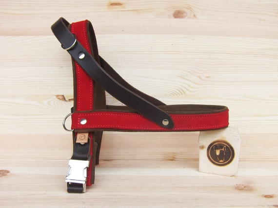 Leather Dog Harness, Red Suede Dog Harness, Comfort Dog Harness for Small and Large Dogs, Handmade Soft Dog Harness, Easy Walk Dog Harness