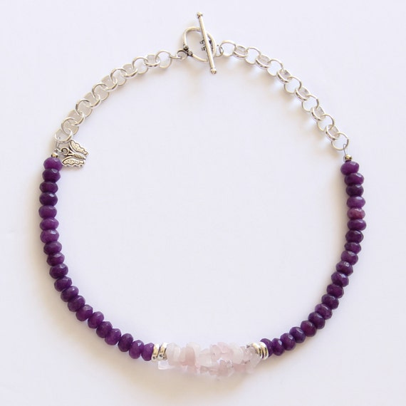 Purple Agate Choker with Sterling Silver Chain and Rose Quartz, Gift for her, Everyday Jewelry