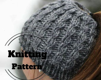 KNITTING PATTERN // Messy bun beanie Pattern // Ponytail hat Pattern // Knit bun beanie Pattern // The Faux Cable Messy bun hat