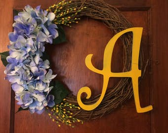 "18"" Grapevine Spring Initial Wreath"