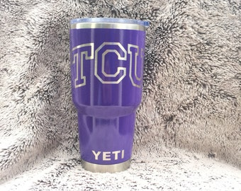 TCU Horned Frogs Texas Christian University Yeti Rambler Cup Powder Coated Gloss Purple