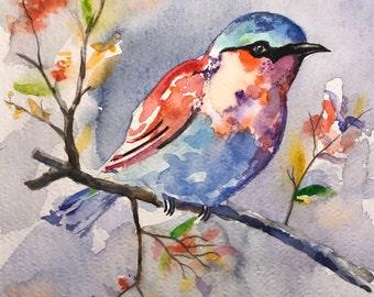 The Spring Robin (handmade watercolor, unique item)