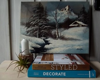 Vintage Signed Barrister Orginal Oil Painting on Canvas/Unframed/Winter Scene/Cabin in the Woods