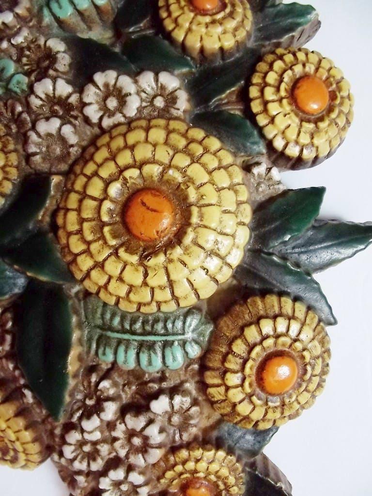 Vintage Ceramic Flowers in Basker Wall Decor/Marigolds/70\'s ...