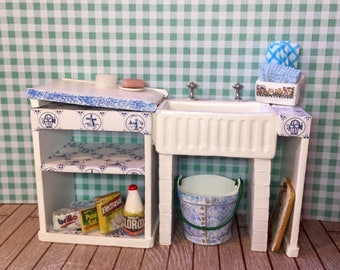 Dolls house furniture kitchen sink unit. 1/12th scale shabby handmade ooak with accessories