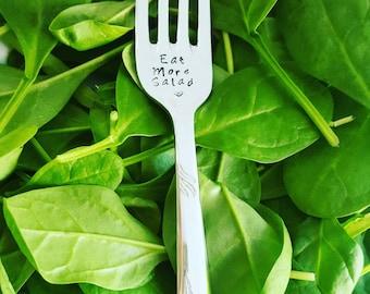 Eat More Salad - Handstamped Vintage Fork