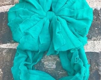 Jade Ruffle Messy Bow Headband
