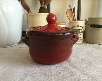 Vintage Small Red Italian Terra-cotta Pot with Lid ~ Made in Italy ~ Ombré Color Red and Black ~ Terra-cotta Cookware