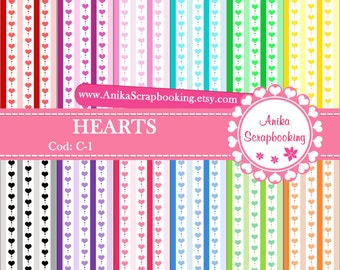 Digital Papers of Hearts - Scrapbook papers-  Digital Backgrounds - Decorative paper - COD: C-1