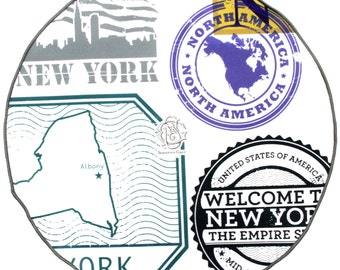 NY State Stamp Collage Pocket Round (Grey Steel)