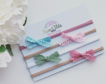 Baby headband with vintage lace bow