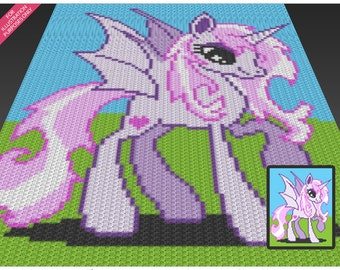 Winged Unicorn  crochet blanket pattern; c2c, cross stitch; knitting; graph; pdf download; no written counts or row-by-row instructions