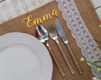 Wooden Wedding Place Name, Wooden Wedding Place Setting,Wedding Place Setting,Name Place Setting,Wedding Place Cards
