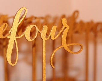 Gold Table Numbers - Freestanding with base - Wedding Table Number- Table Numbers - Freestanding - Table Numbers for Wedding