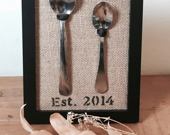 Personalized 5x7 big spoon little spoon/spooning frame on burlap
