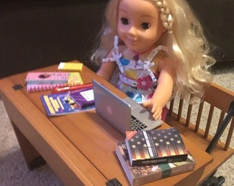 """Laptop for dolls!  With school supplies for American Girl or any 18"""" Doll!"""