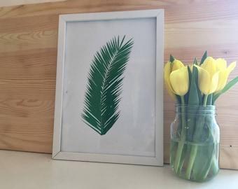 Palm Tree Palm Print In Emerald Green Foil