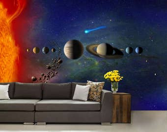 solar system wallpaper, solar system wall mural, galaxy wallpaper, galaxy wall decal, star wallpaper, star wall mural, solar system decal
