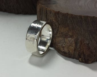 Sterling Silver Wide Band Ring / Sterling Silver Wedding Band / Size US 8