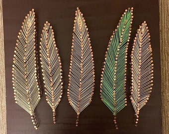 Feather String Art, feather decoration, boho feathers, rustic, beach feathers