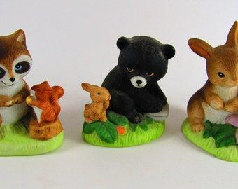 Homco Home Interior Wild Animals Figurines (1418), Bear, Raccoon, Bunny Rabbit