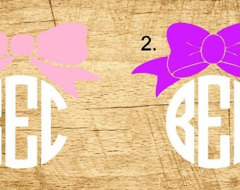 Monogram with Bow Decals